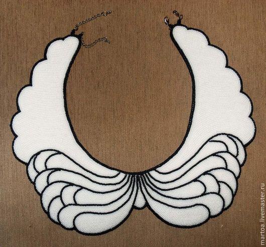 """Колье, бусы ручной работы. Ярмарка Мастеров - ручная работа. Купить воротник """"Крылья ангела"""". Handmade. Чёрно-белый, воротник"""