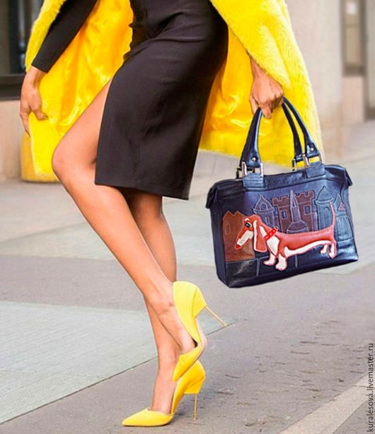 """Женские сумки ручной работы. Ярмарка Мастеров - ручная работа. Купить Кожаный радикюль """"Рыжий таксик"""". Handmade. Черный, изолон"""