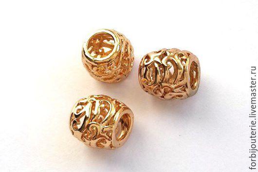 094 Бусина ажурная из латуни с позолотой. Высококачественное покрытие gold filled. Для украшений ручной работы. Южная Корея.