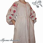 Одежда ручной работы. Ярмарка Мастеров - ручная работа Льняное платье рубашка с ручной вышивкой Серый лен. Handmade.
