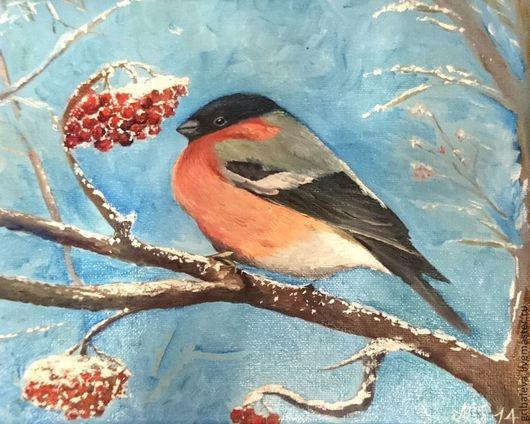 Пейзаж ручной работы. Ярмарка Мастеров - ручная работа. Купить Картина маслом Морозный день. Снегирь 30 на 24 см. Handmade.