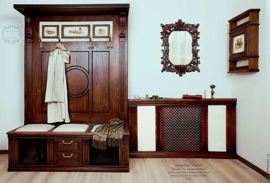 Вешалка настенная `Усадьба`. Мебель из массива дуба. Авторская мебель ручной работы. 100% массив дуба, масло воск, натуральная кожа. Рисунки авторские, сделаны в ручную. Вешалка для прихожей.