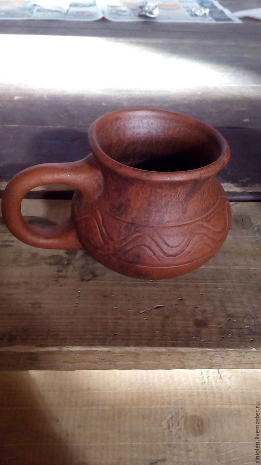 Кружки и чашки ручной работы. Ярмарка Мастеров - ручная работа. Купить Деревенская кружка из красной глины. Handmade. Глиняная посуда