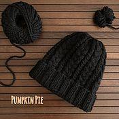 Аксессуары handmade. Livemaster - original item Men`s black merino and alpaca hat