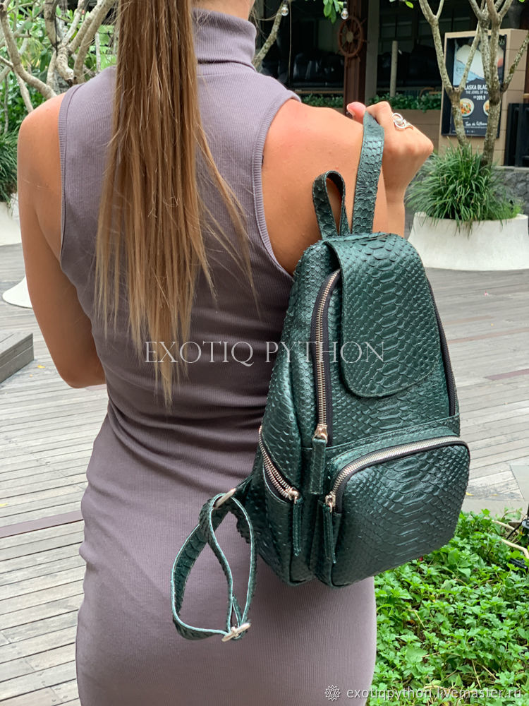Backpack made of Python skin of pearl-green color, Backpacks, Moscow,  Фото №1
