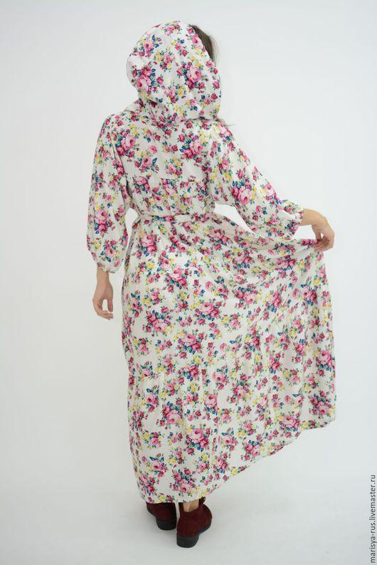 """Платья ручной работы. Ярмарка Мастеров - ручная работа. Купить Платье с капюшоном """"Июль"""". Handmade. Белый, свободное платье"""
