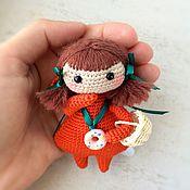Лисичка вязаная - куколка амигуруми.