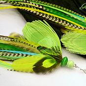 Украшения handmade. Livemaster - original item Light green feather earrings. Handmade.