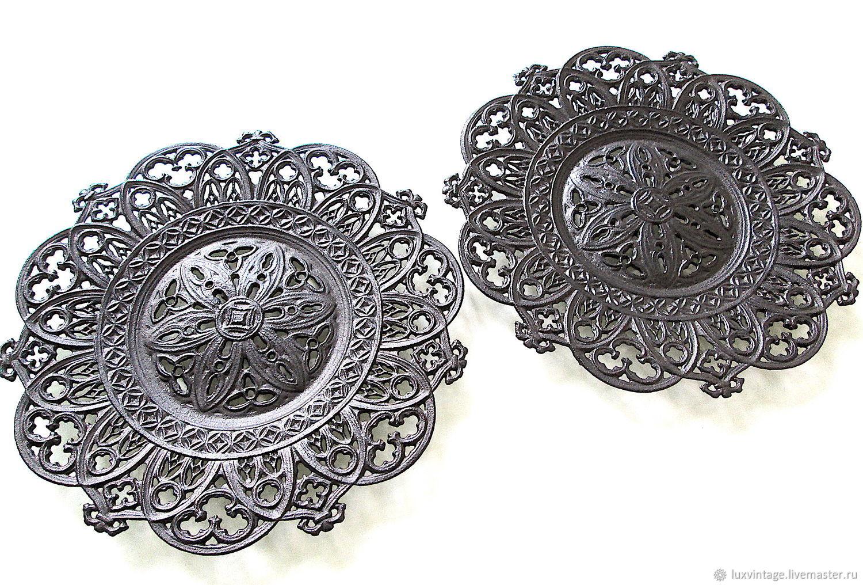 Cast iron Plate Dish decor Openwork Classic Kasli Gotic, Vintage Souvenirs, Moscow,  Фото №1