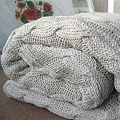 Для дома и интерьера ручной работы. Ярмарка Мастеров - ручная работа Вязаный плед из буретного шелка. Handmade.
