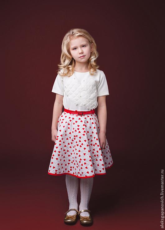 Одежда для девочек, ручной работы. Ярмарка Мастеров - ручная работа. Купить Юбка сердечная. Handmade. Юбка для девочки, сердечки, рисунок