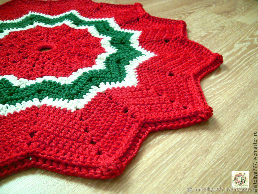 Rug, knotted cord handmade Christmas star, Carpets, Kabardinka,  Фото №1
