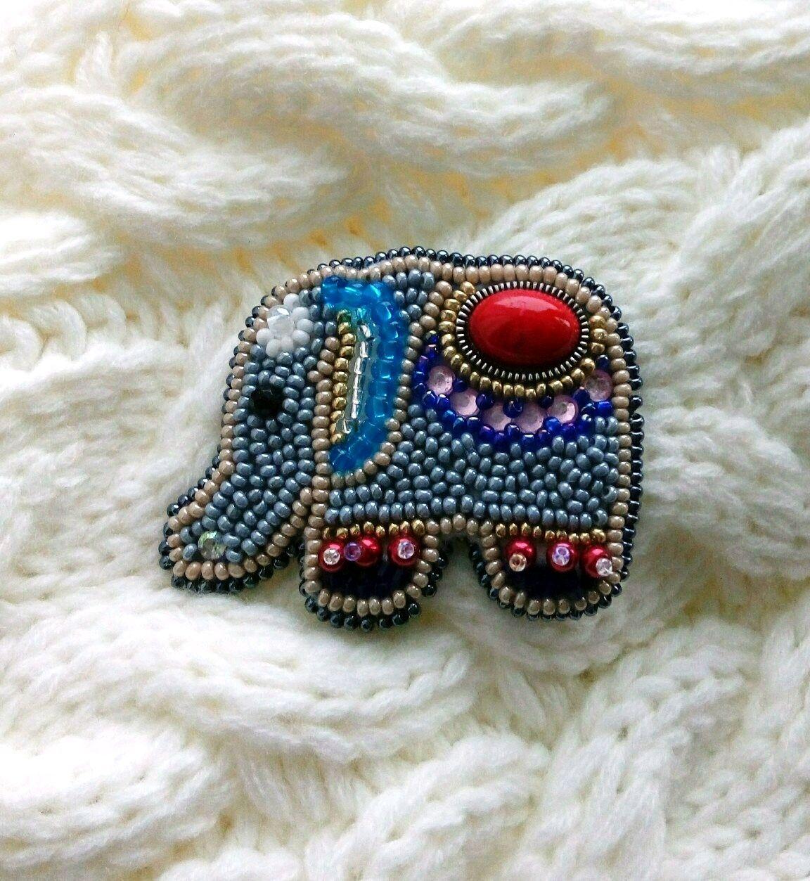 Elephant brooch Indian handmade beaded, Brooches, St. Petersburg,  Фото №1