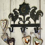 Для дома и интерьера ручной работы. Ярмарка Мастеров - ручная работа Крючки металлические Петушки с подсолнухом. Handmade.