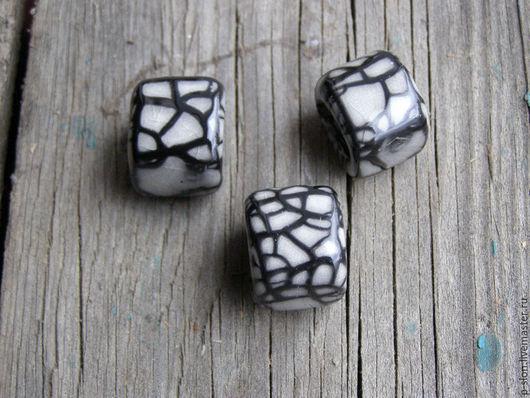 Для украшений ручной работы. Ярмарка Мастеров - ручная работа. Купить Керамическая бусина для regaliz (регализ) белая с узором рег236. Handmade.