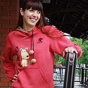 Одежда handmade. Livemaster - original item Coral sweatshirt oversize Travel, jacket with a dog. Handmade.