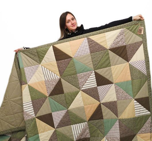 Текстиль, ковры ручной работы. Ярмарка Мастеров - ручная работа. Купить Большое лоскутное одеяло 250х250 см. Handmade. Коричневый