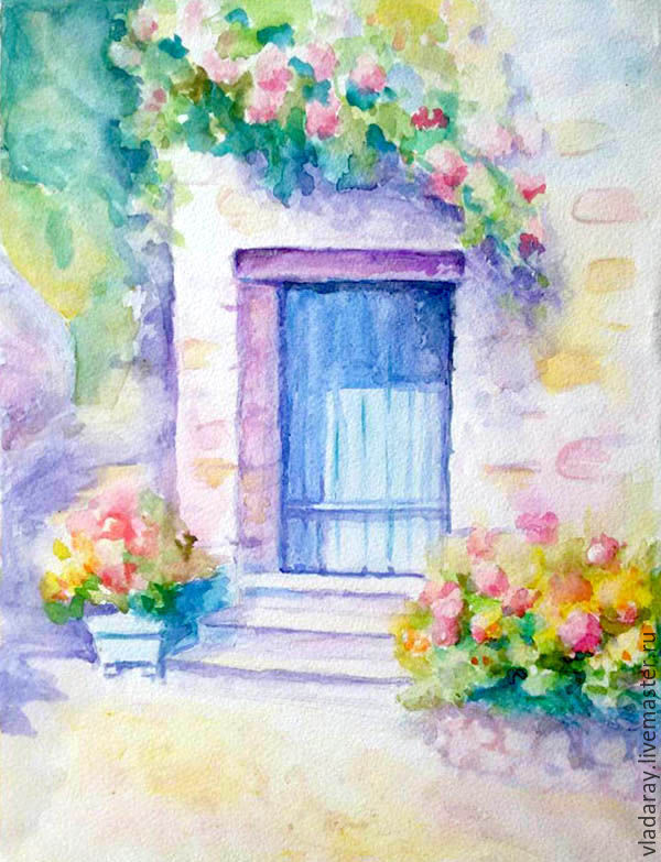 Buy Painting Cozy Patio Watercolor On Livemaster Online Shop - Patio painting