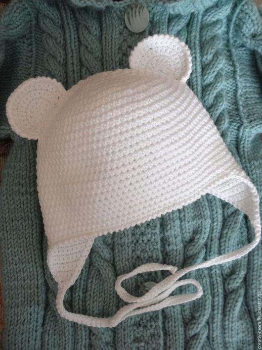 """Шапки и шарфы ручной работы. Ярмарка Мастеров - ручная работа. Купить шапочка"""" Мышка беленькая"""".. Handmade. Комбинированный, детская шапочка"""