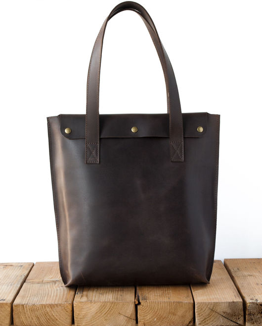 Женские сумки ручной работы. Ярмарка Мастеров - ручная работа. Купить Сумка Melton из кожи коричневого цвета. Handmade. Однотонный