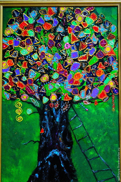 Фантазийные сюжеты ручной работы. Ярмарка Мастеров - ручная работа. Купить Дуб Желаний Картина на стекле. Handmade. Счастье, благополучие