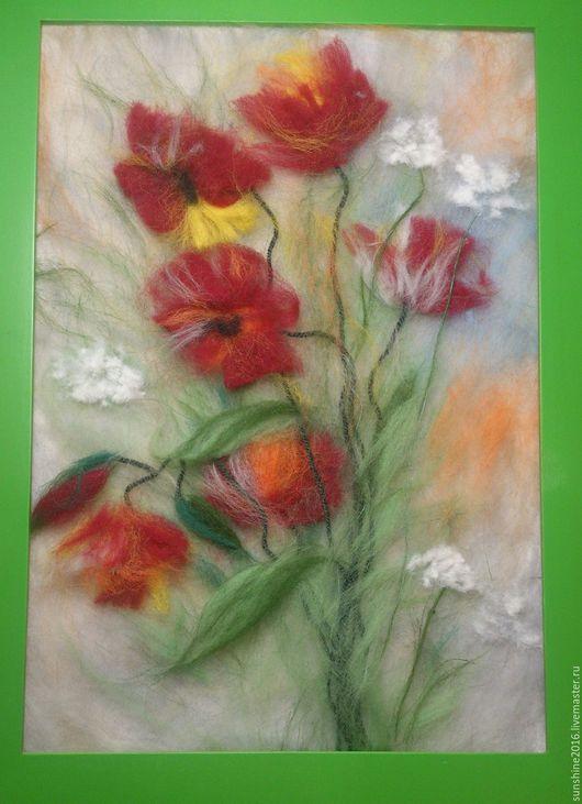 Картины цветов ручной работы. Ярмарка Мастеров - ручная работа. Купить Маки. Handmade. Ярко-красный, красный, картина