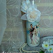 """Свадебный салон ручной работы. Ярмарка Мастеров - ручная работа Бутылка шампанского """"Свадебное ретро"""". Handmade."""