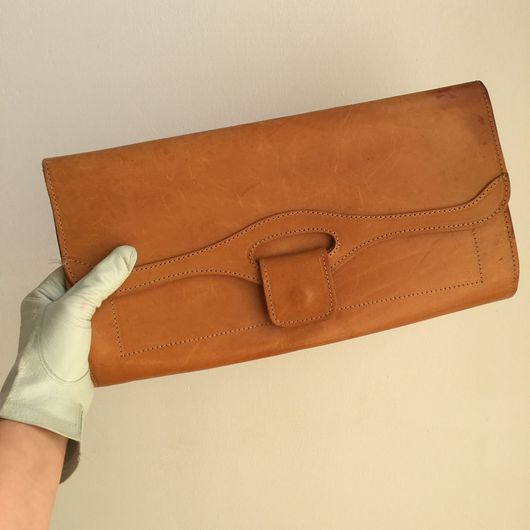 Винтажные сумки и кошельки. Ярмарка Мастеров - ручная работа. Купить Винтажный кожаный клатч, конец 1970г. Handmade. Бежевый