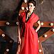 Эксклюзивное белье от Людмилы Маниной - красный длинный пеньюар с черным кружевом.