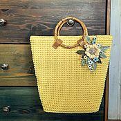 Сумки и аксессуары handmade. Livemaster - original item Bag Summer Sun Genuine Leather Flowers Cotton Handles Bamboo Knitted. Handmade.