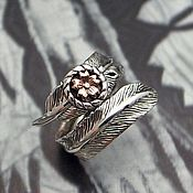 Украшения handmade. Livemaster - original item Ring Flower with feather dimensionless silver 925 jewelry and brass. Handmade.