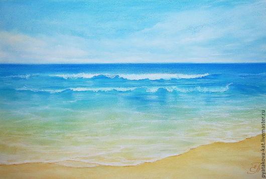 Пейзаж ручной работы. Ярмарка Мастеров - ручная работа. Купить Белый песок. Handmade. Пастель, картина пастелью, морская волна