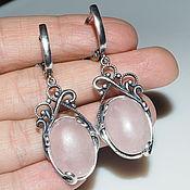 Украшения handmade. Livemaster - original item Earrings Sofia rose quartz, silver 925. Handmade.