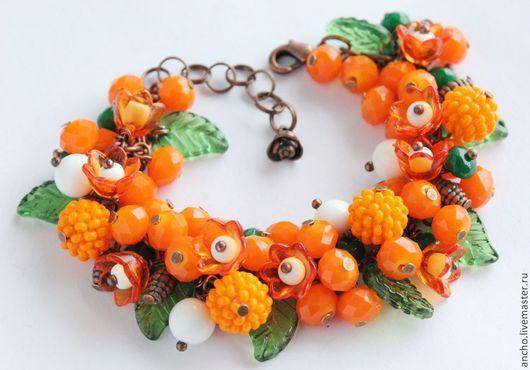 """Браслеты ручной работы. Ярмарка Мастеров - ручная работа. Купить Браслет """"Оранжевый"""". Handmade. Оранжевый, оранжевый браслет, браслет на руку"""