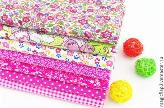 Шитье ручной работы. Ярмарка Мастеров - ручная работа. Купить Набор тканей хлопок Цветочный Малиновый. Для шитья, пэчворка, игрушек. Handmade.