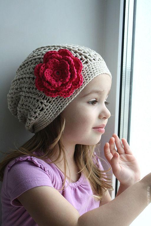 Шапки и шарфы ручной работы. Ярмарка Мастеров - ручная работа. Купить Льняная шапочка. Handmade. Бежевый, шапочка с цветком