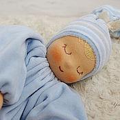 """Вальдорфские куклы и звери ручной работы. Ярмарка Мастеров - ручная работа Сплюшка """"Голубенькая капелька""""  - вальдорфская куколка. Handmade."""