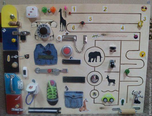 Развивающие игрушки ручной работы. Ярмарка Мастеров - ручная работа. Купить БИЗИБОРД РАЗВИВАЮЩАЯ ДОСКА. Handmade. Разноцветный, развивающие игры
