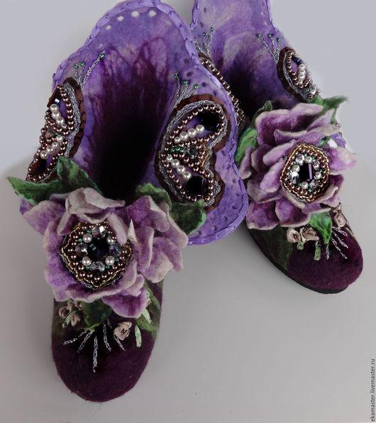 """Обувь ручной работы. Ярмарка Мастеров - ручная работа. Купить Валенки домашние """"Madam josеphine"""". Handmade. Валенки, валенки с рисунком"""