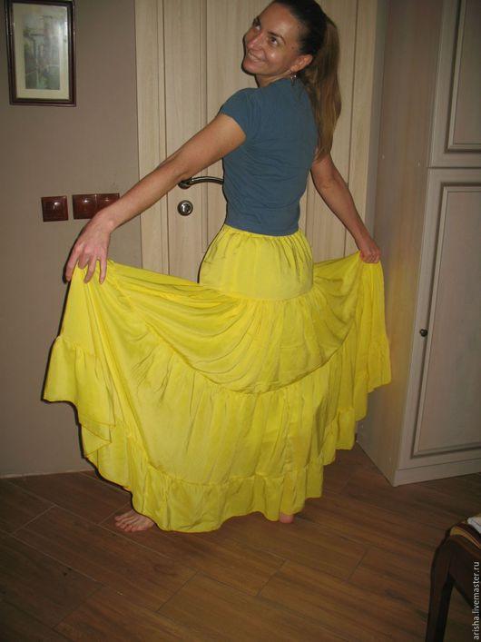 Юбки ручной работы. Ярмарка Мастеров - ручная работа. Купить желтая юбка из хлопка. Handmade. Желтый, одежда, юбочка