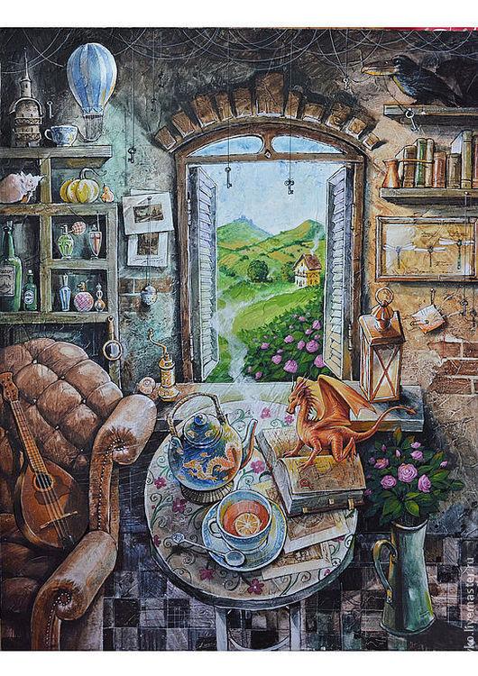 """Фэнтези ручной работы. Ярмарка Мастеров - ручная работа. Купить """"Чай с драконом"""". Handmade. Фентези, чайная роза, гравюра, ворона"""
