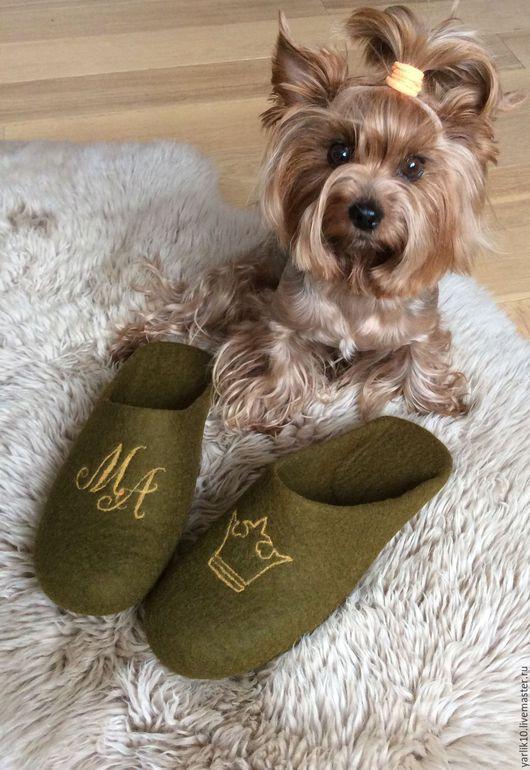 Обувь ручной работы. Ярмарка Мастеров - ручная работа. Купить Тапочки валяные мужские, именные тапочки, тапочки короля. Handmade.