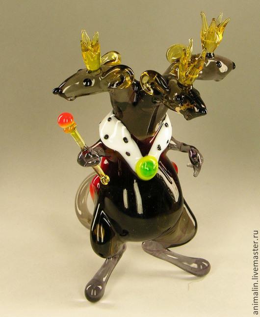Статуэтки ручной работы. Ярмарка Мастеров - ручная работа. Купить Интерьерная фигурка из стекла - Мышиный Король. Handmade. Мышка, крыса