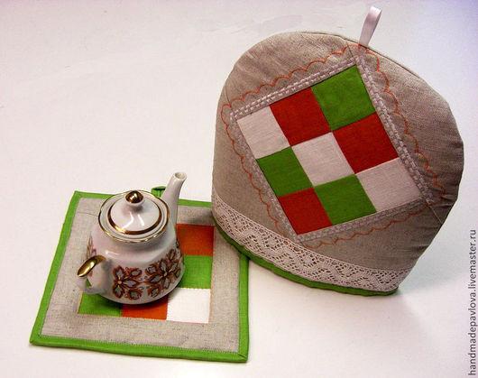 Льняной кухонный комплект: грелка на чайник плюс прихватка.