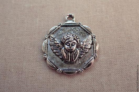 Для украшений ручной работы. Ярмарка Мастеров - ручная работа. Купить Подвеска ангел, амур, купидон. Цвет подвески античное серебро. Handmade.