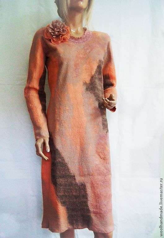 Платья ручной работы. Ярмарка Мастеров - ручная работа. Купить Платье из шерсти Абрикос. Handmade. Абстрактный, платье из шерсти