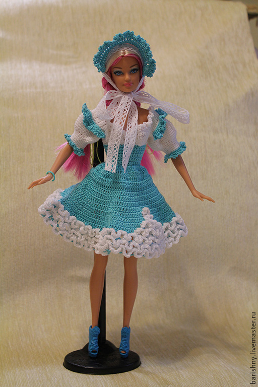 Одежда для Барби: Селяночка- платье и шляпка.. Застежка на липучке.