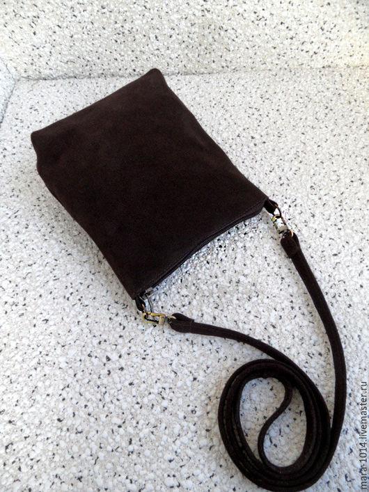 Женские сумки ручной работы. Ярмарка Мастеров - ручная работа. Купить КОРИЦА замшевая сумочка на длинном ремешке, замша. Handmade.