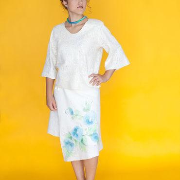 Одежда ручной работы. Ярмарка Мастеров - ручная работа Голубые цветы. Handmade.