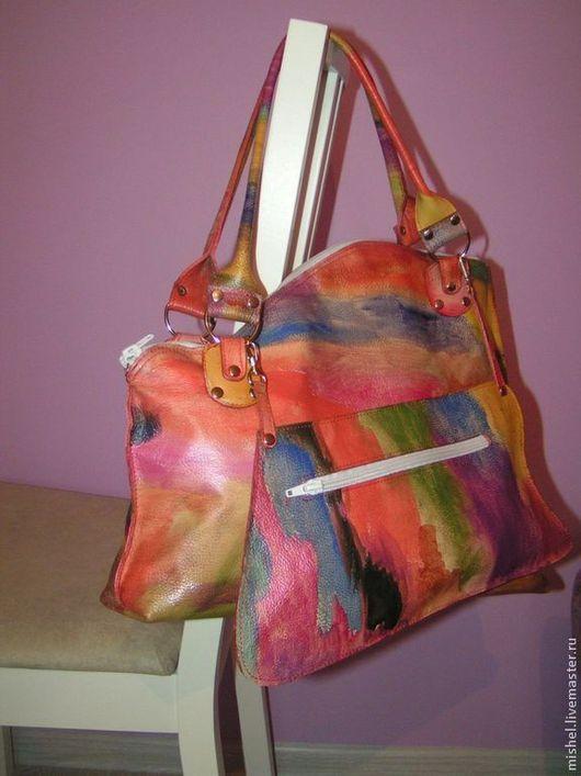 Женские сумки ручной работы. Ярмарка Мастеров - ручная работа. Купить Арт сумка.. Handmade. Разноцветный, кожа натуральная